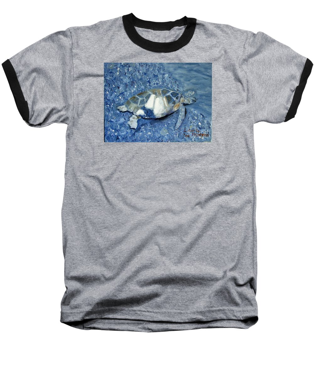 Turtle Baseball T-Shirt featuring the painting Turtle On Black Sand Beach by Laurie Morgan