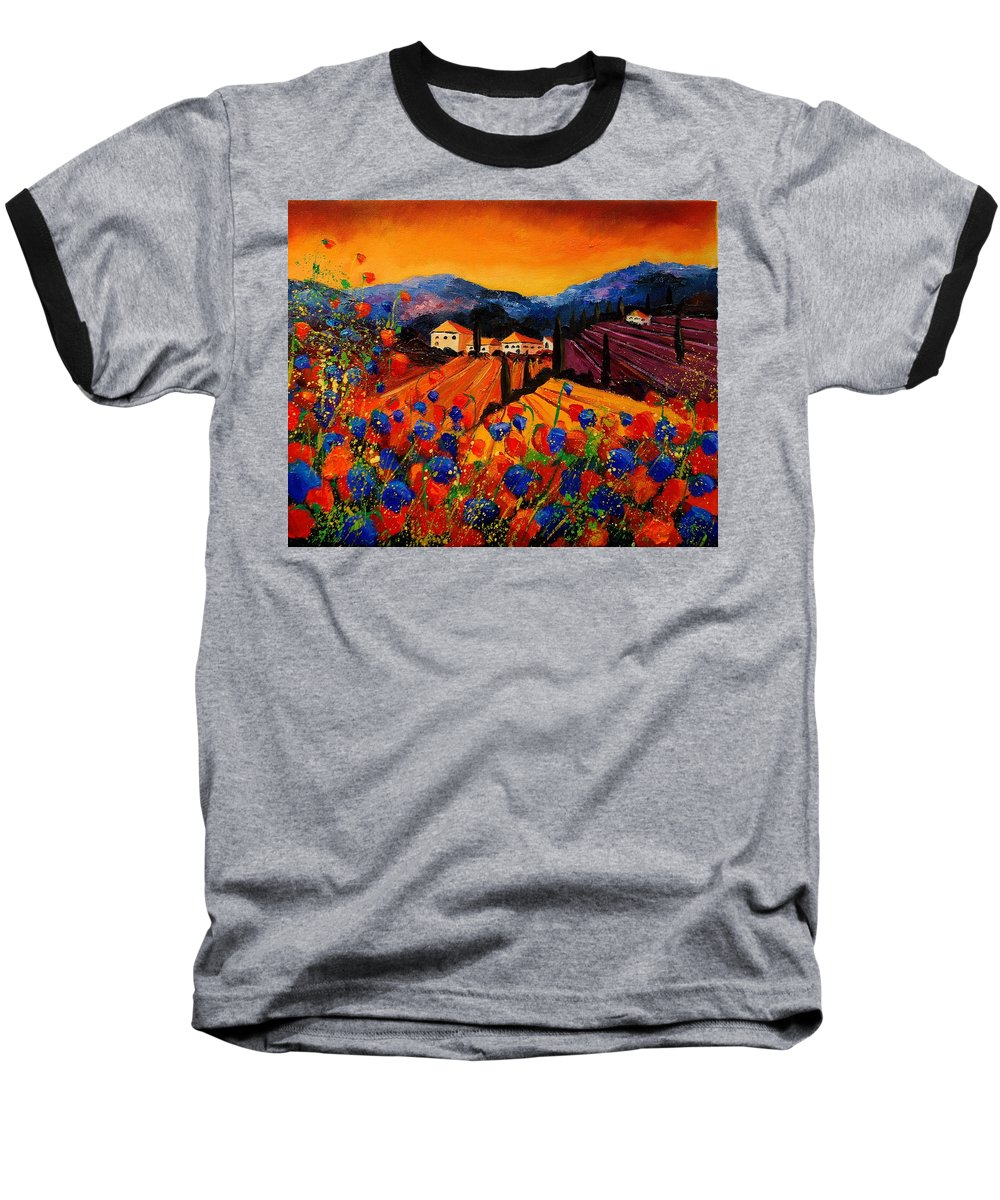 Poppies Baseball T-Shirt featuring the painting Tuscany Poppies by Pol Ledent