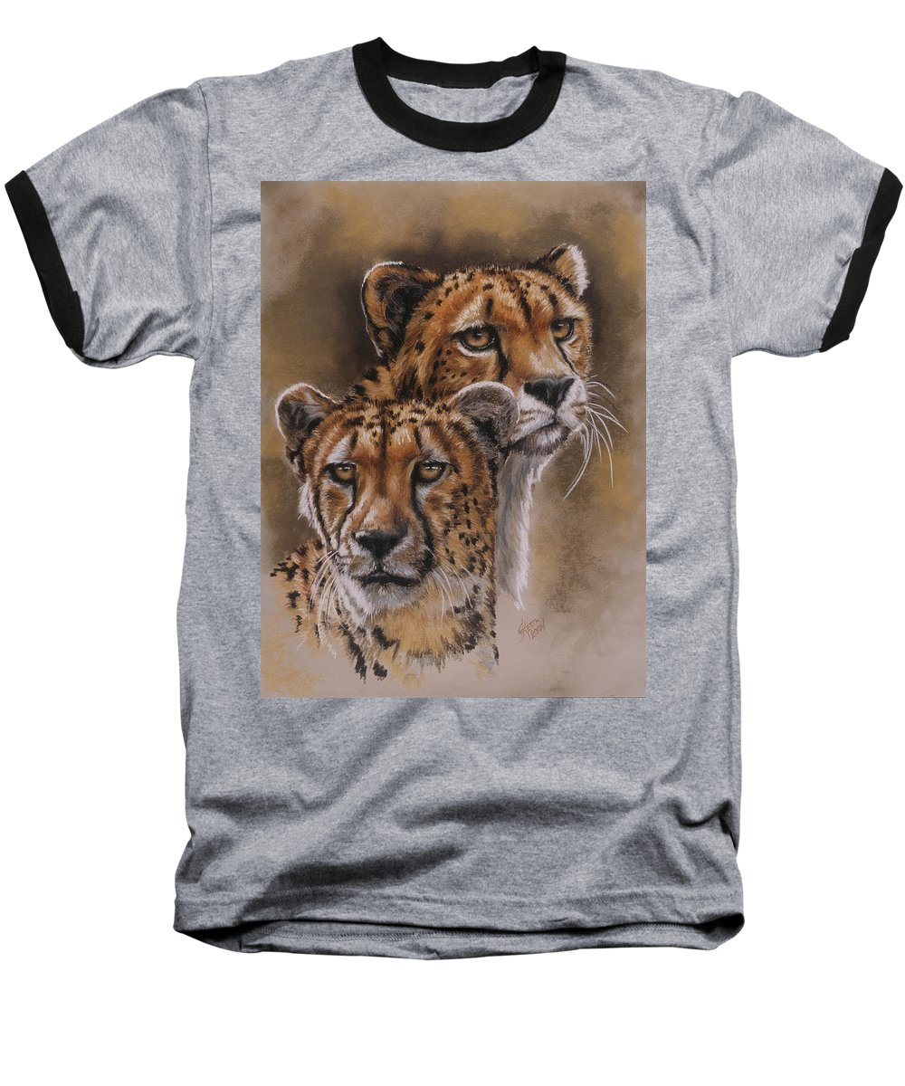 Cheetah Baseball T-Shirt featuring the pastel Twins by Barbara Keith