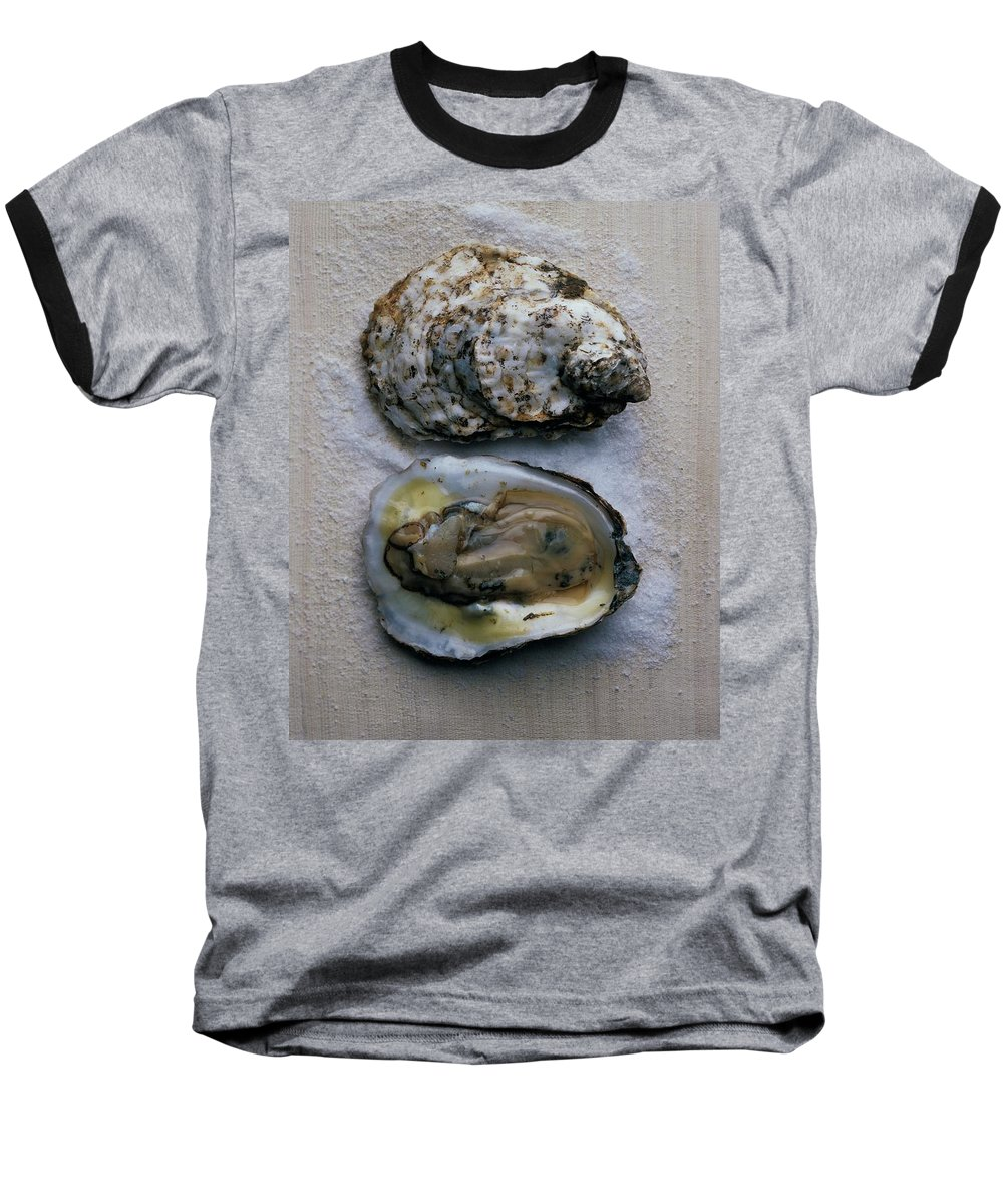 Cooking Baseball T-Shirt featuring the photograph Two Oysters by Romulo Yanes