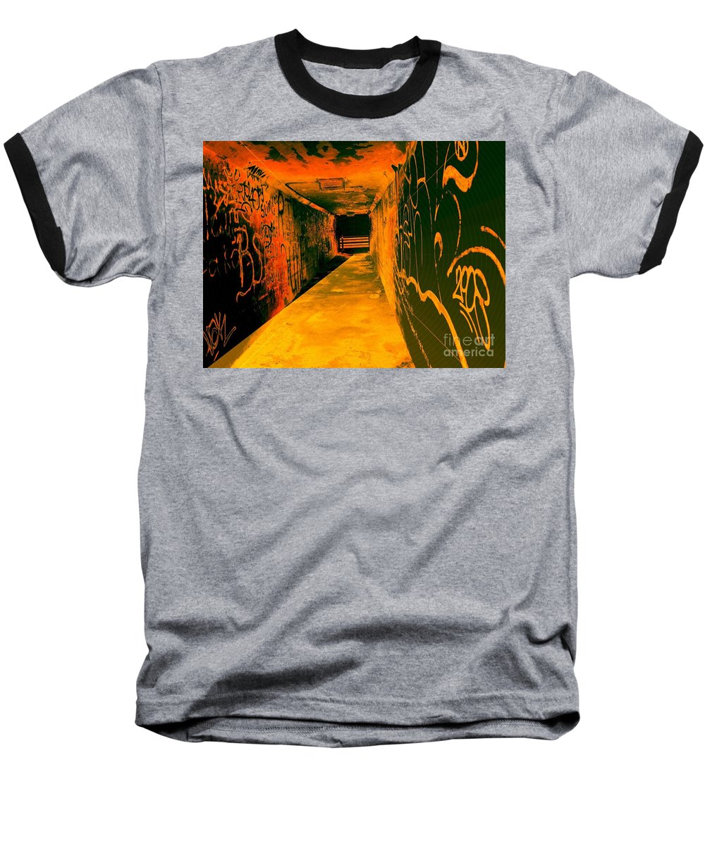 Tunnel Baseball T-Shirt featuring the photograph Under The Bridge by Ze DaLuz