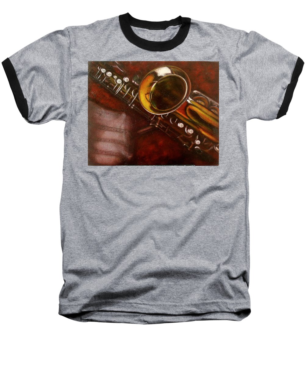 Still Life Baseball T-Shirt featuring the painting Unprotected Sax by Sean Connolly