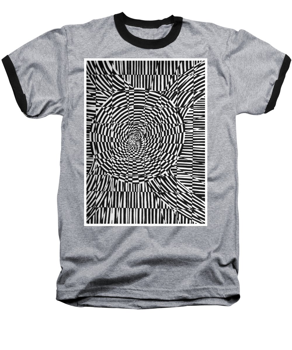 Abstract Baseball T-Shirt featuring the drawing Unraveled by Crystal Hubbard