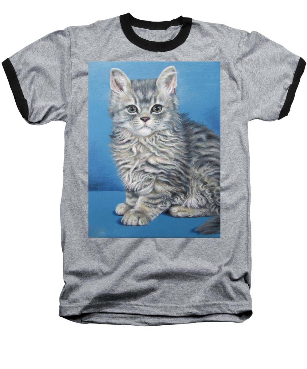 Cat Baseball T-Shirt featuring the drawing Velvet Kitten by Nicole Zeug