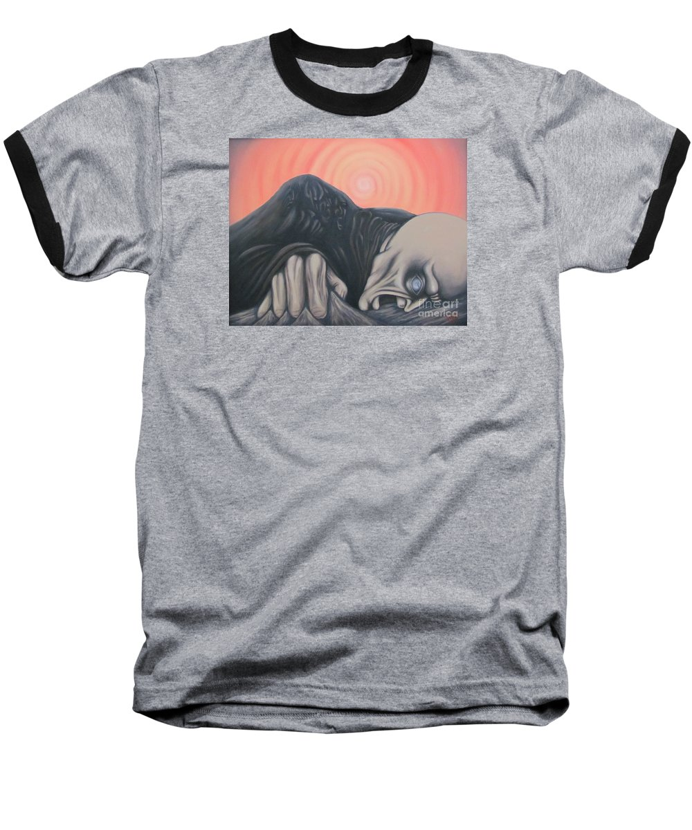Tmad Baseball T-Shirt featuring the painting Vertigo by Michael TMAD Finney