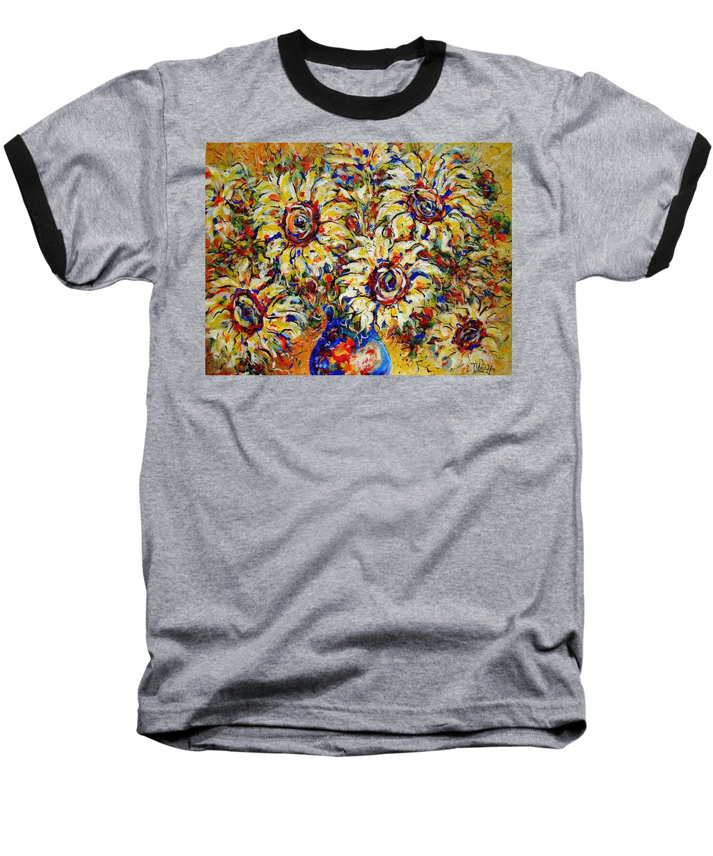 Flowers Baseball T-Shirt featuring the painting Vibrant Sunflower Essence by Natalie Holland