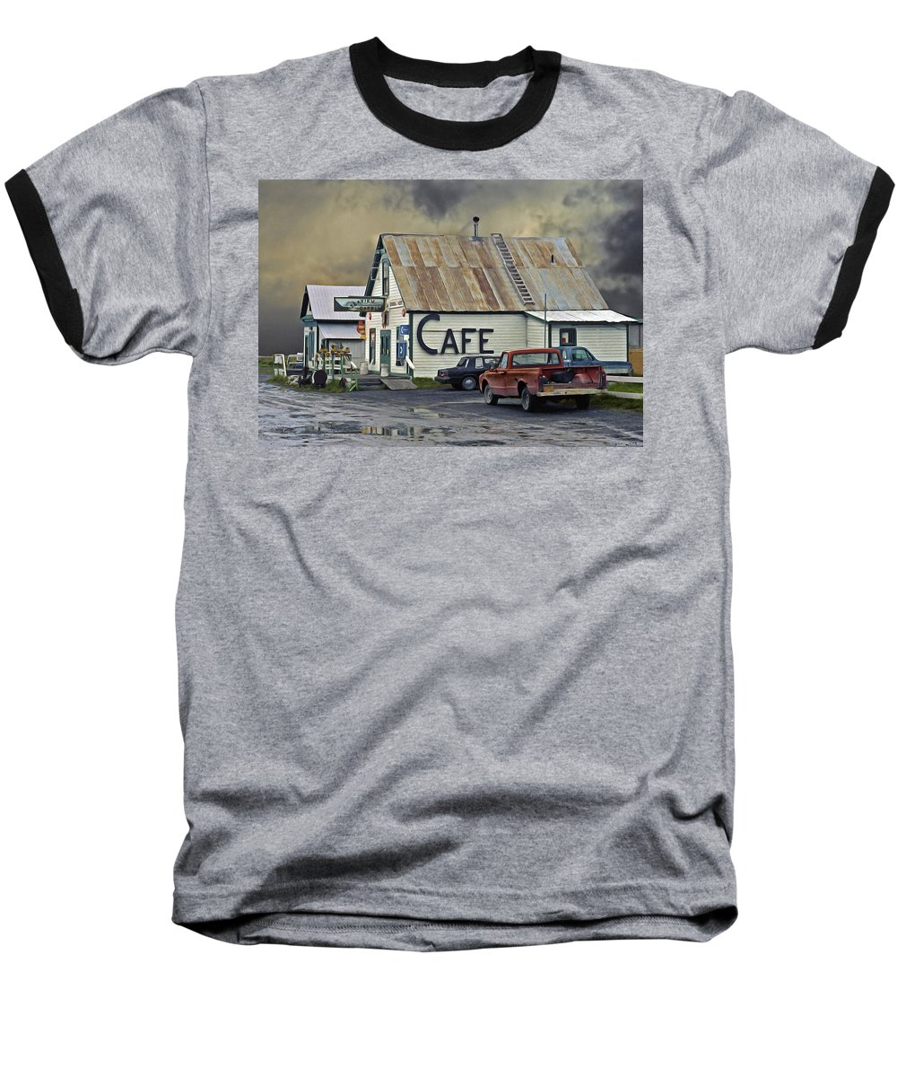 Alaska Baseball T-Shirt featuring the photograph Vintage Alaska Cafe by Ron Day
