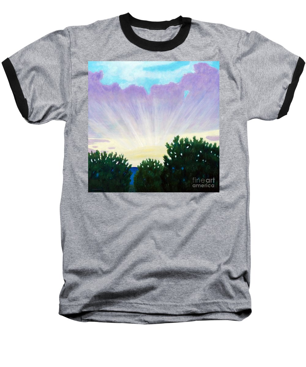 Skyscape Baseball T-Shirt featuring the painting Visionary Sky by Brian Commerford
