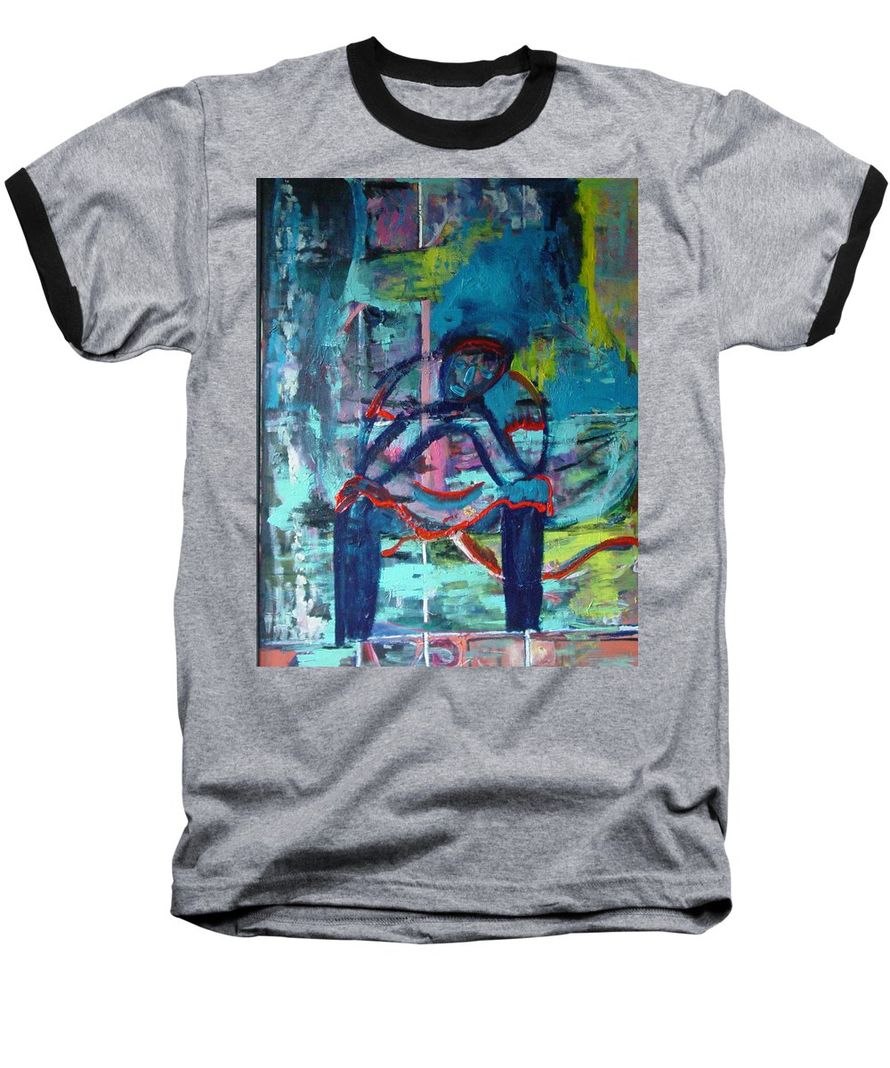 Woman On Bench Baseball T-Shirt featuring the painting Waiting by Peggy Blood