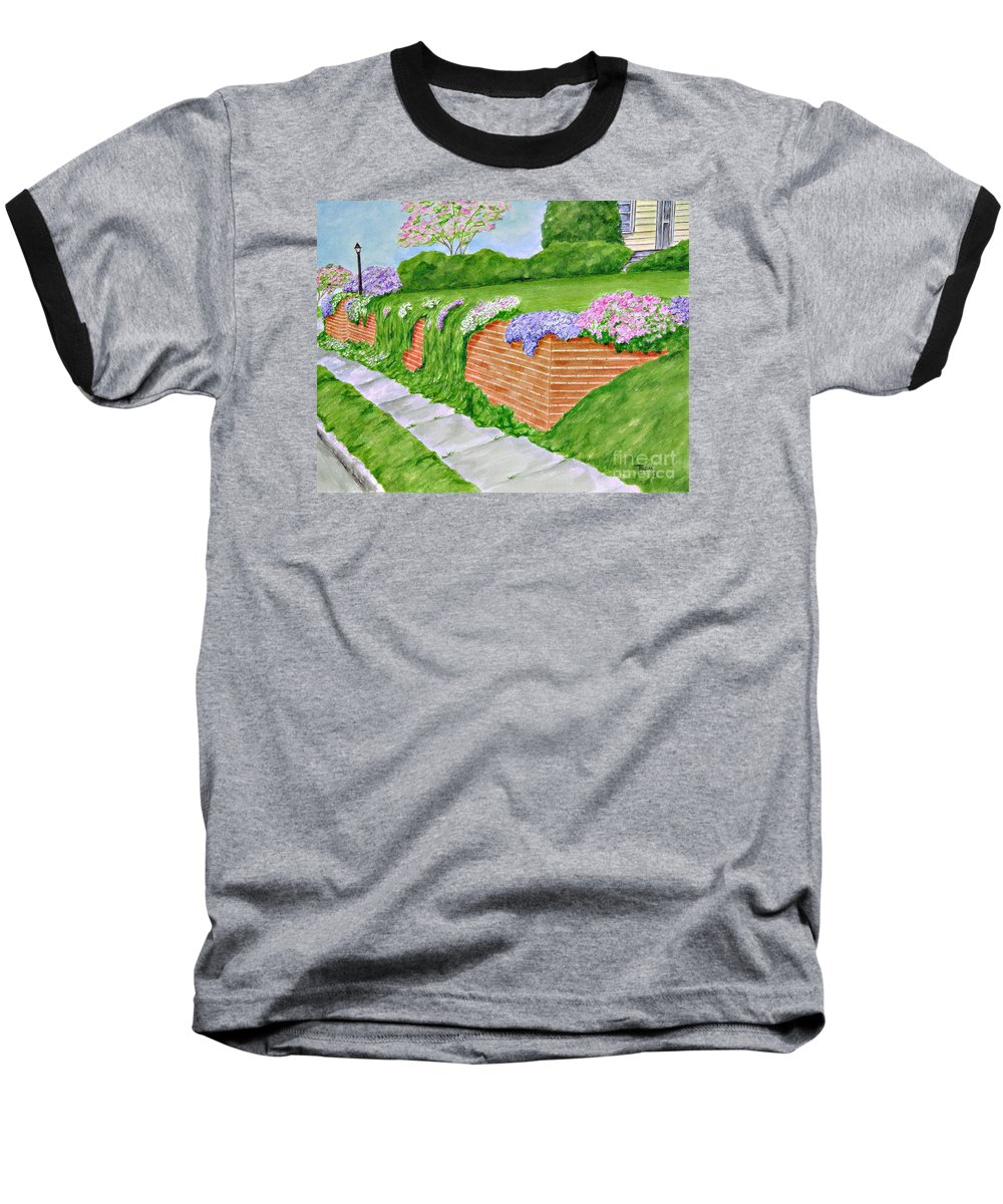 Landscape Baseball T-Shirt featuring the painting Wall Of Flowers by Regan J Smith
