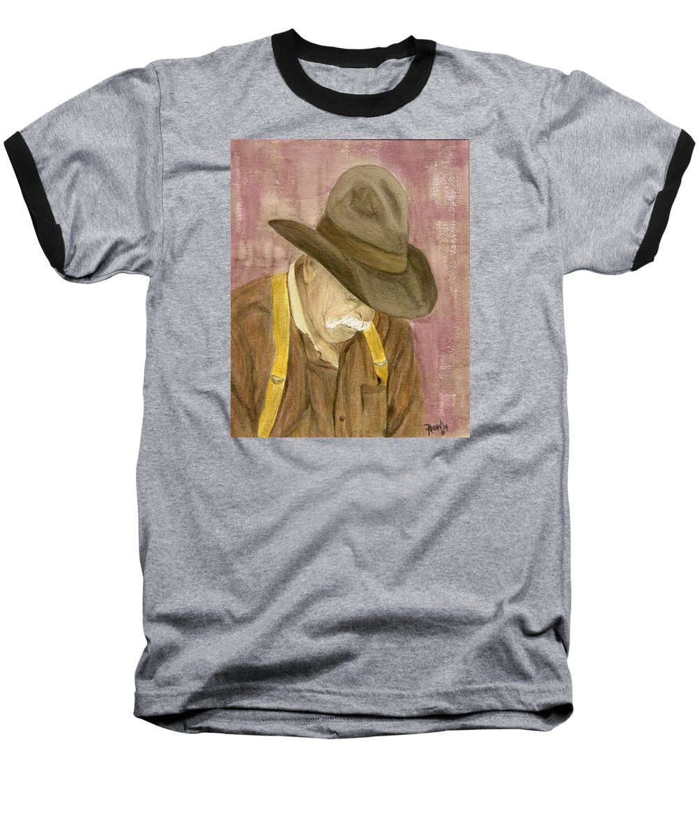 Western Baseball T-Shirt featuring the painting Walter by Regan J Smith