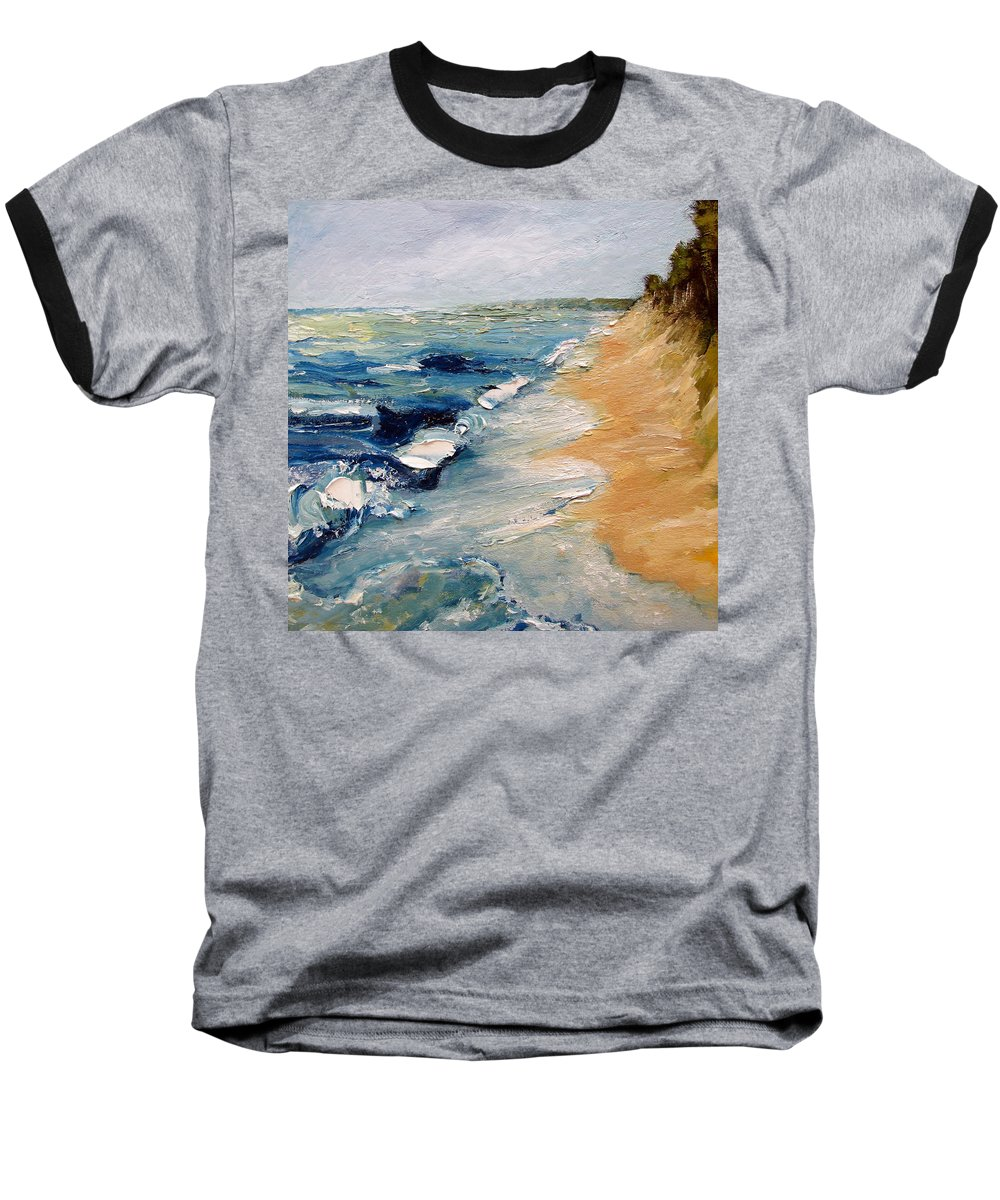 Whitecaps Baseball T-Shirt featuring the painting Whitecaps On Lake Michigan 3.0 by Michelle Calkins