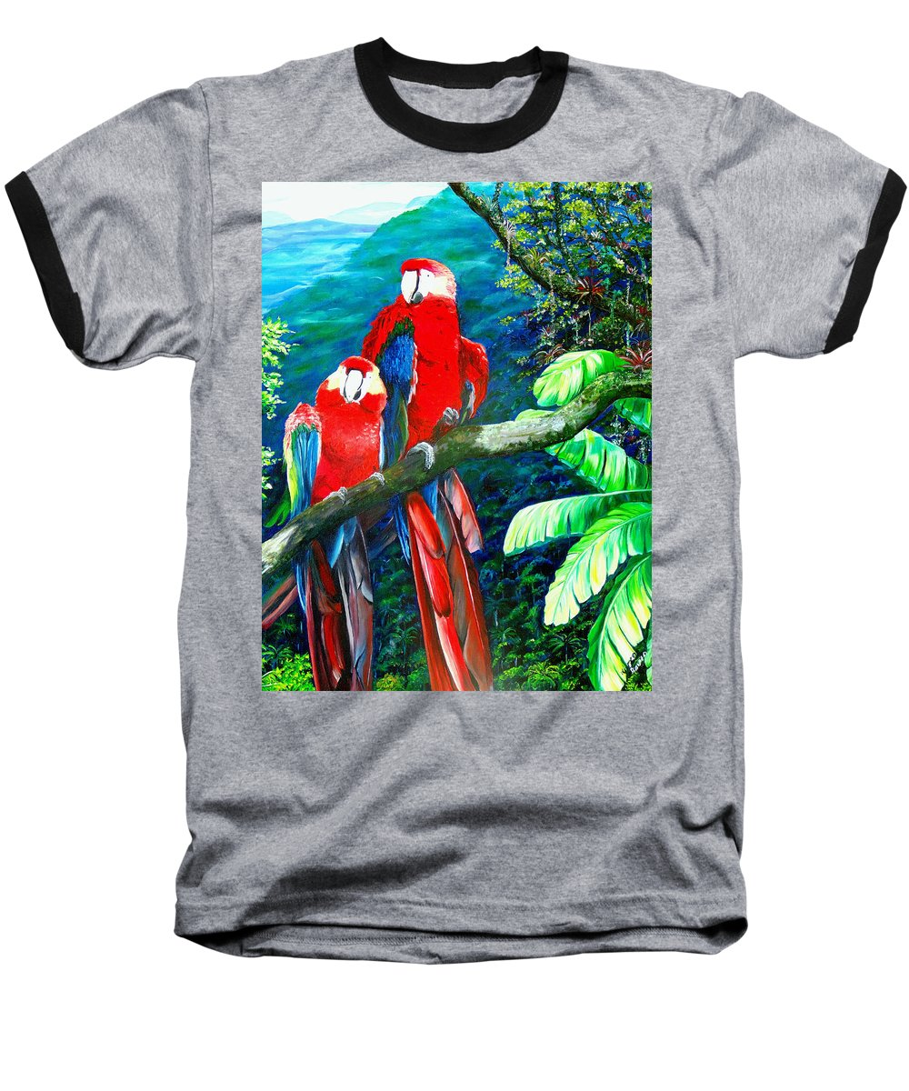Caribbean Painting Green Wing Macaws Red Mountains Birds Trinidad And Tobago Birds Parrots Macaw Paintings Greeting Card  Baseball T-Shirt featuring the painting Who Me  by Karin Dawn Kelshall- Best