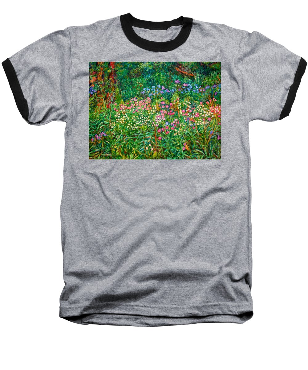 Floral Baseball T-Shirt featuring the painting Wildflowers Near Fancy Gap by Kendall Kessler