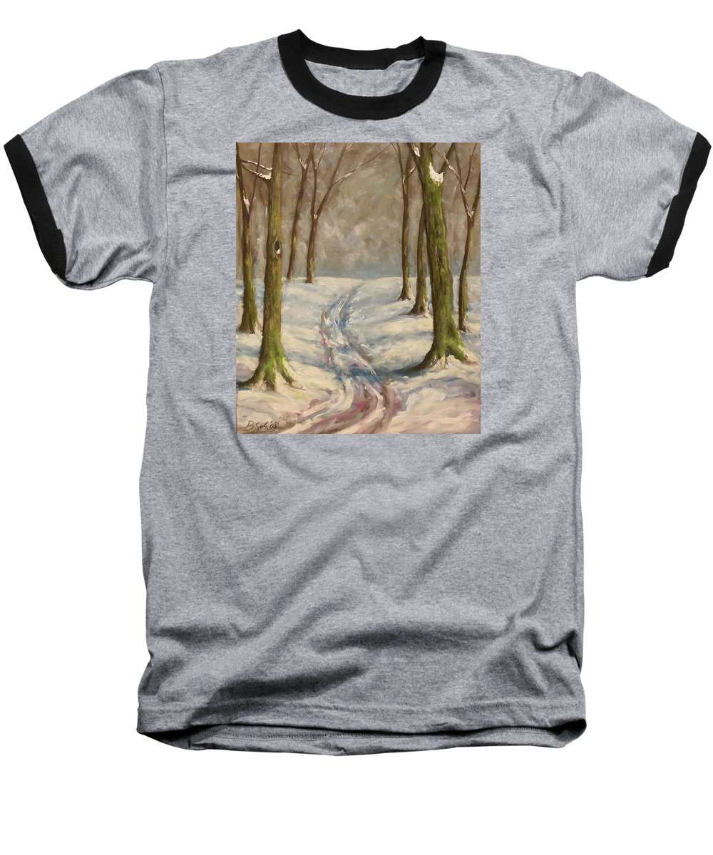 Winter Baseball T-Shirt featuring the painting Winter Day by Birgit Schnapp