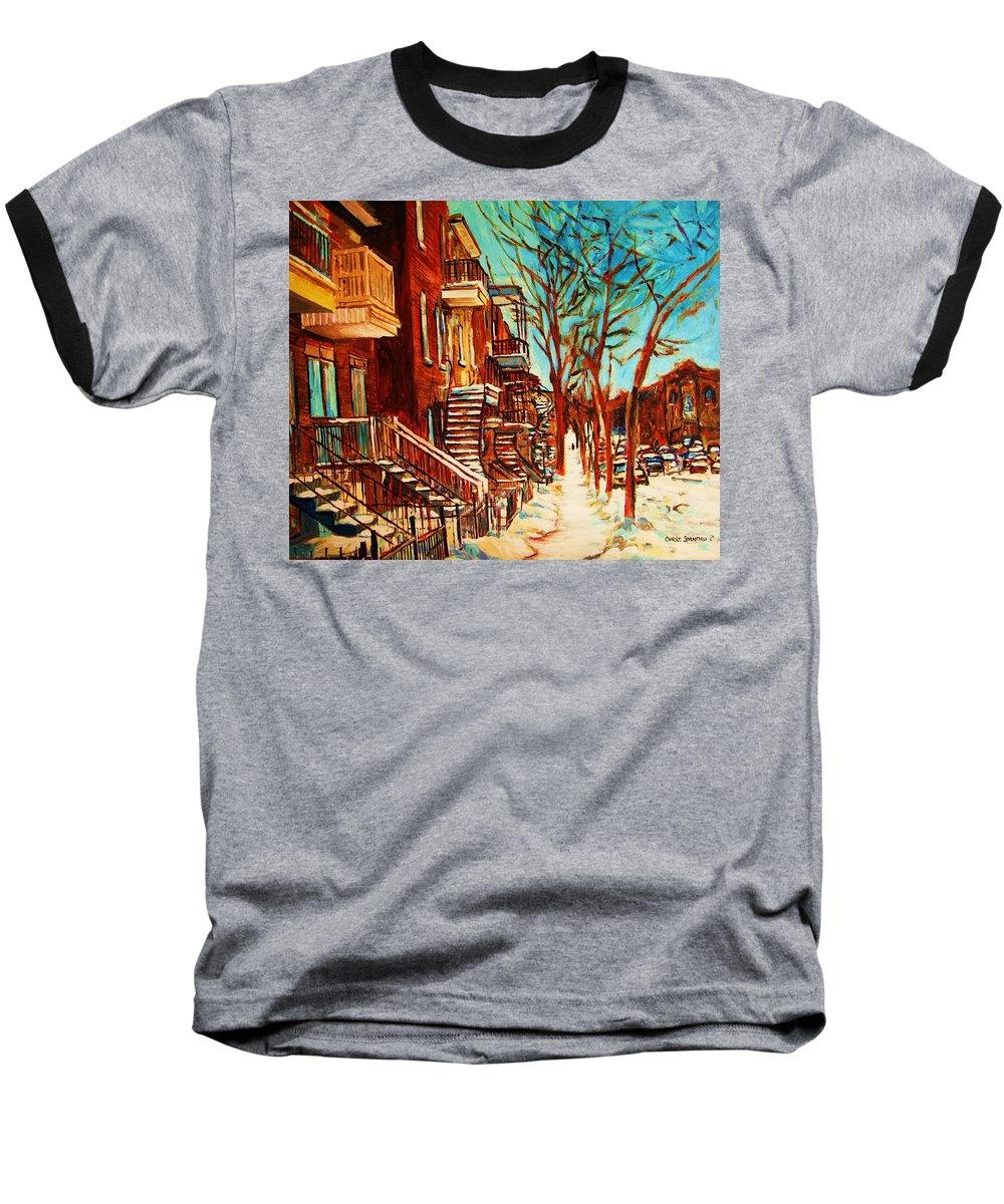 Verdun Paintings By Montreal Street Scene Artist Carole Spandau Baseball T-Shirt featuring the painting Winter Staircase by Carole Spandau
