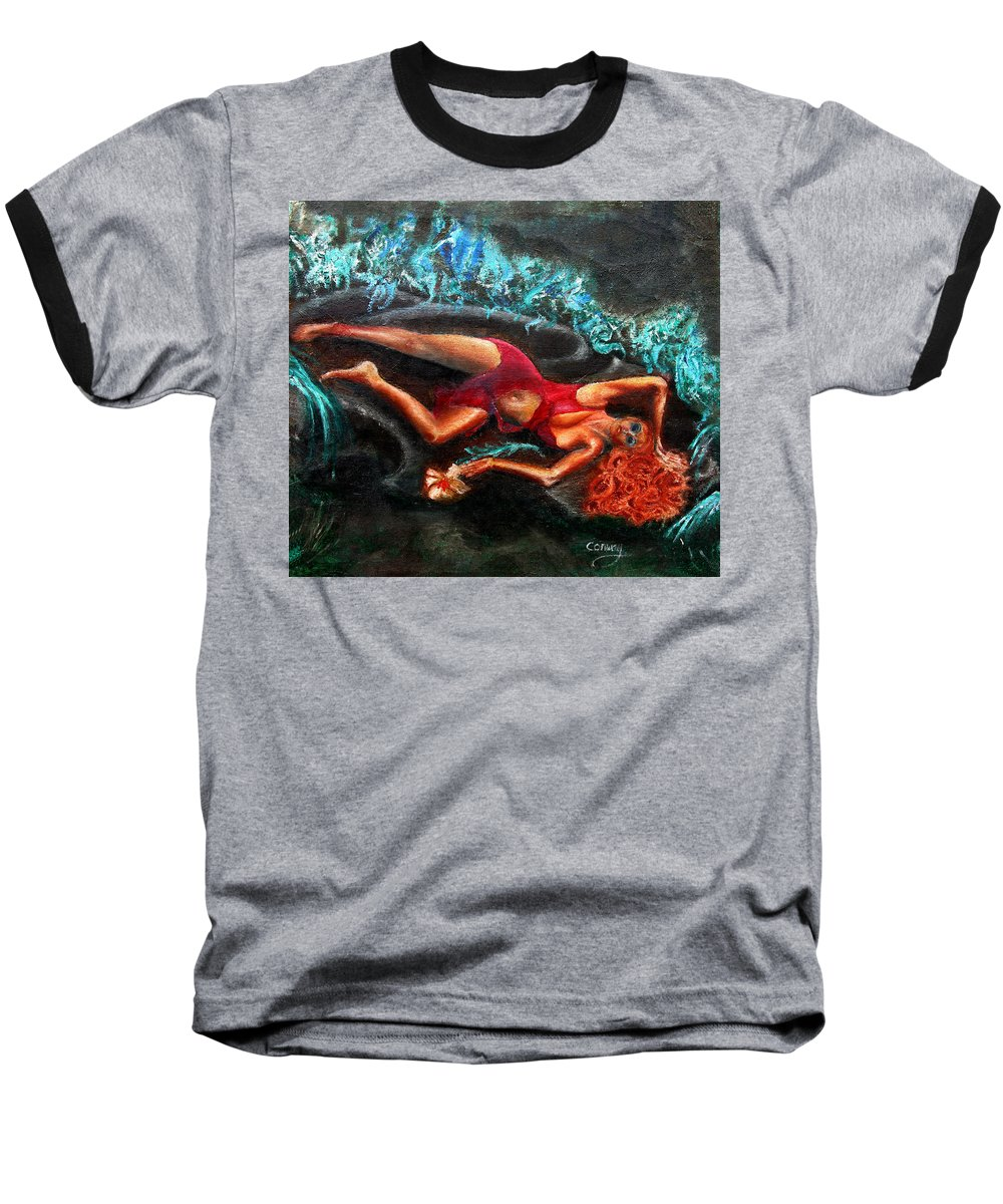 Females Baseball T-Shirt featuring the painting Woman In A Red Dress Holding A Flower by Tom Conway