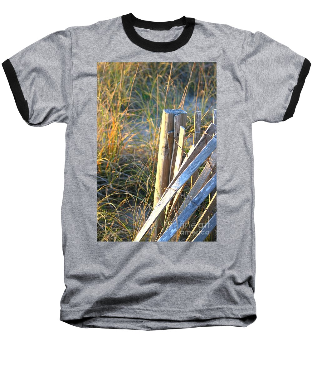 Post Baseball T-Shirt featuring the photograph Wooden Post And Fence At The Beach by Nadine Rippelmeyer