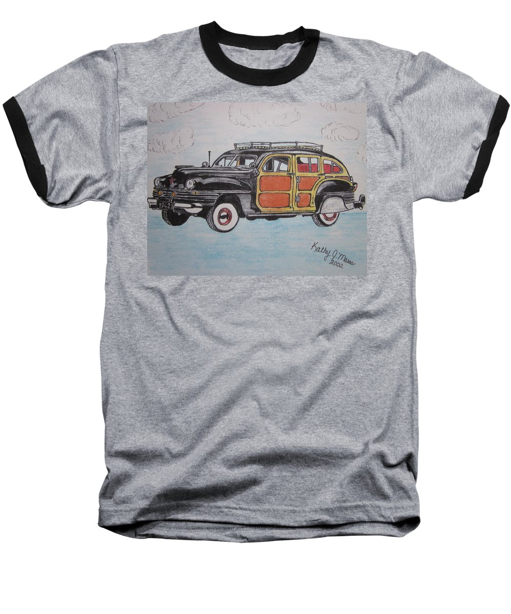 Woodie Baseball T-Shirt featuring the painting Woodie Station Wagon by Kathy Marrs Chandler