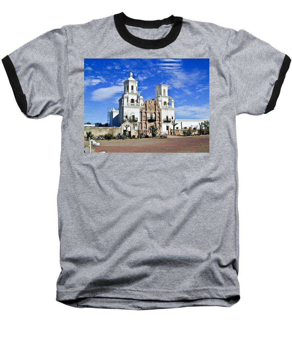 Mission San Xavier Del Bac Baseball T-Shirt featuring the photograph Xavier Tucson Arizona by Douglas Barnett