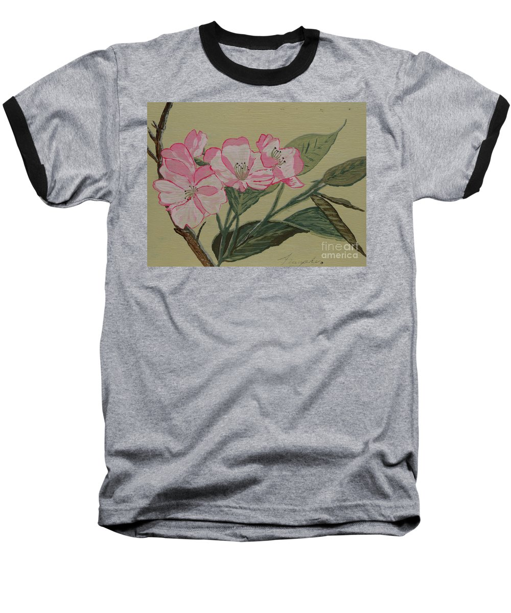 Yamazakura Baseball T-Shirt featuring the painting Yamazakura Or Cherry Blossom by Anthony Dunphy