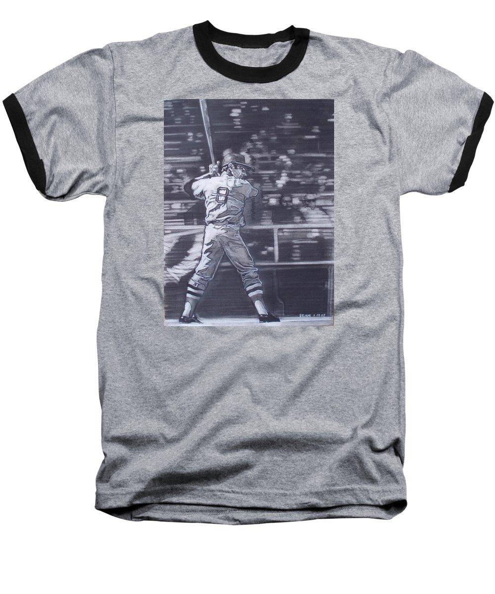Charcoal Baseball T-Shirt featuring the drawing Yaz - Carl Yastrzemski by Sean Connolly