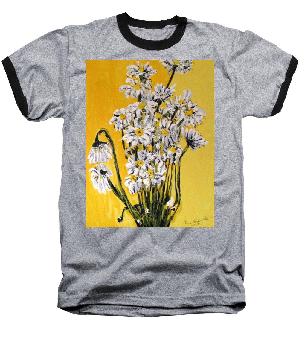 Daisy Baseball T-Shirt featuring the painting Yellow by Ian MacDonald