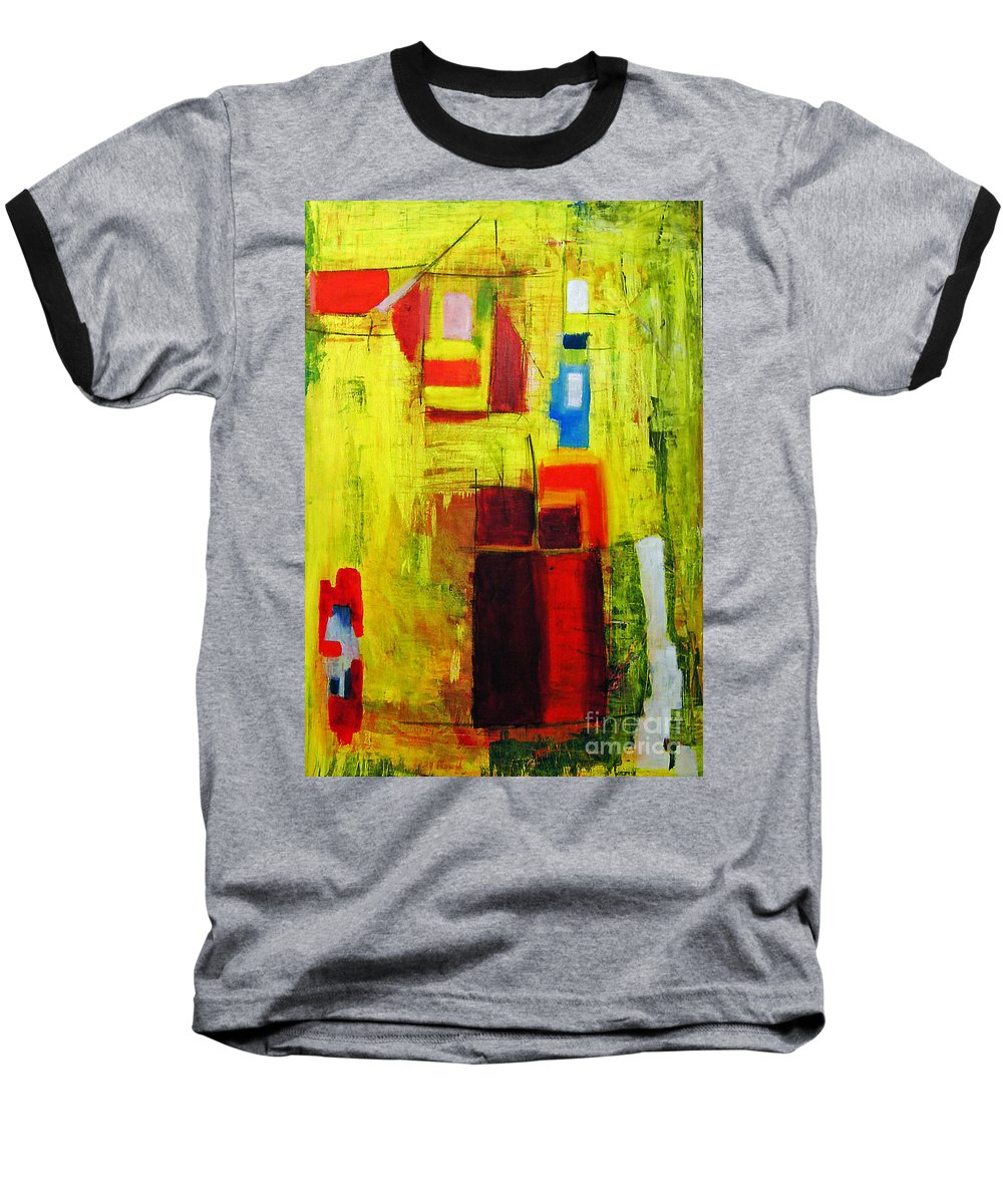 Abstract Painting Baseball T-Shirt featuring the painting Yellow by Jeff Barrett