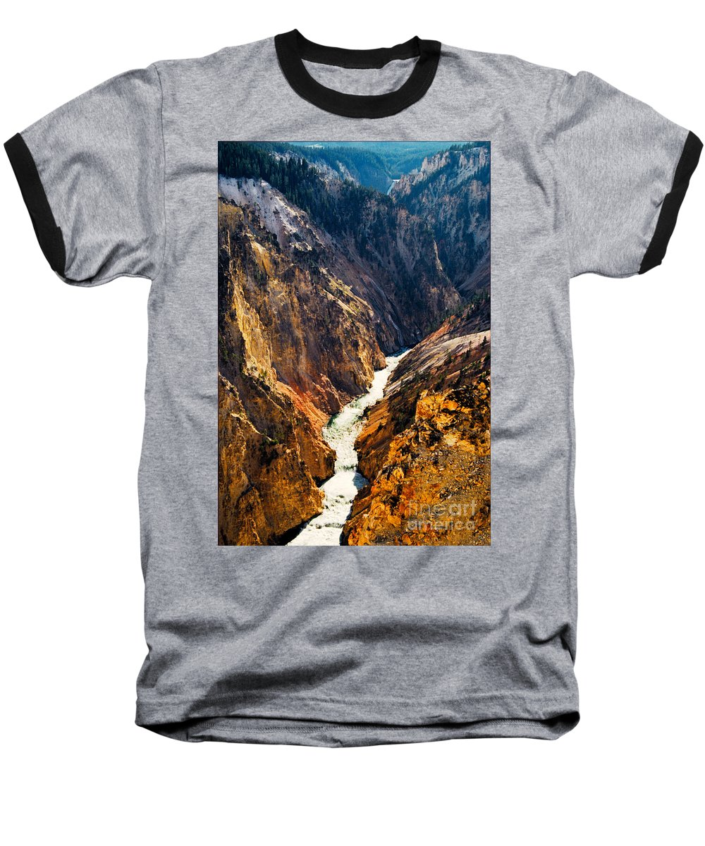 Yellowstone Baseball T-Shirt featuring the photograph Yellowstone River by Kathy McClure