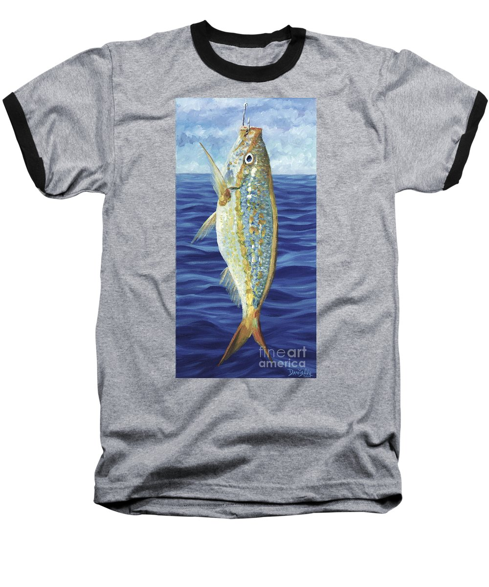 Snapper Baseball T-Shirt featuring the painting Yellowtail On The Menu by Danielle Perry