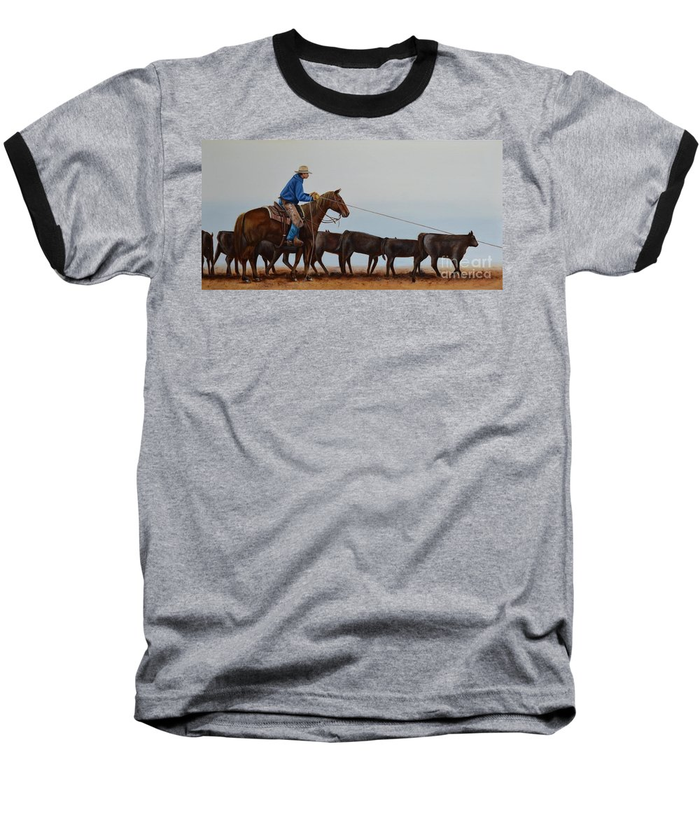 Art Baseball T-Shirt featuring the painting You're Next by Mary Rogers