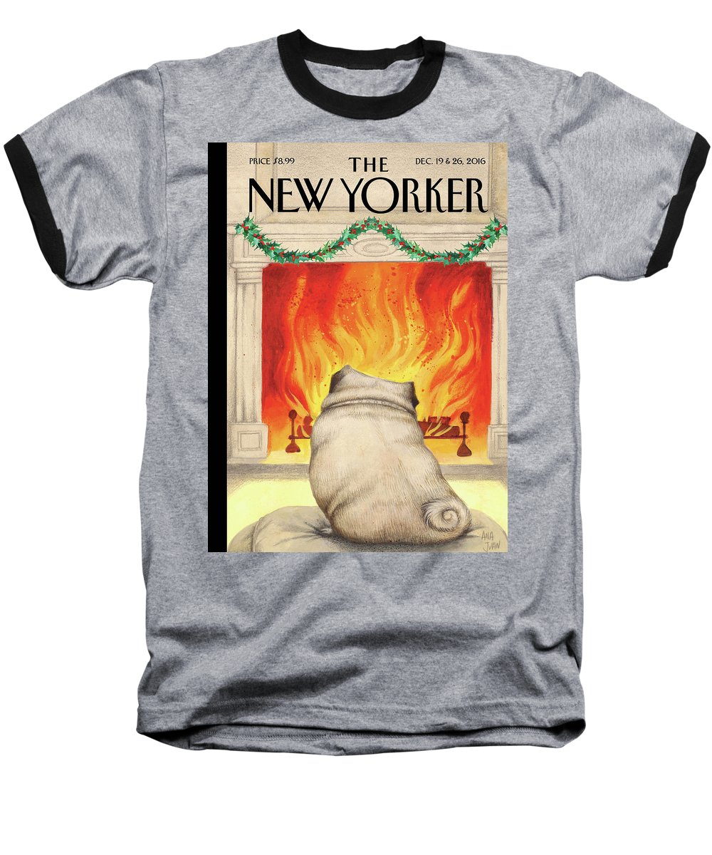Pug Baseball T-Shirt featuring the painting Yule Dog by Ana Juan