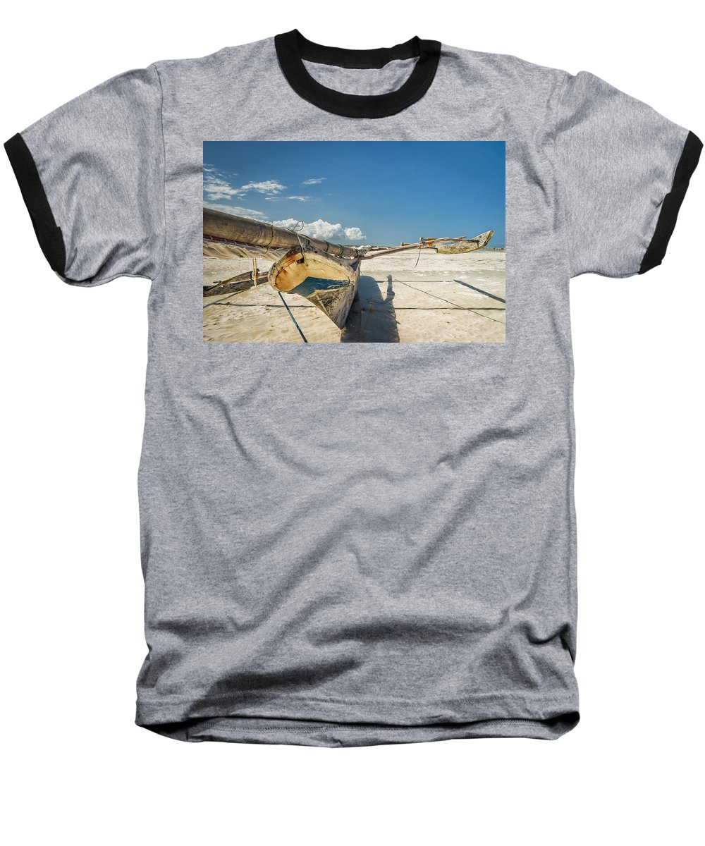 3scape Baseball T-Shirt featuring the photograph Zanzibar Outrigger by Adam Romanowicz