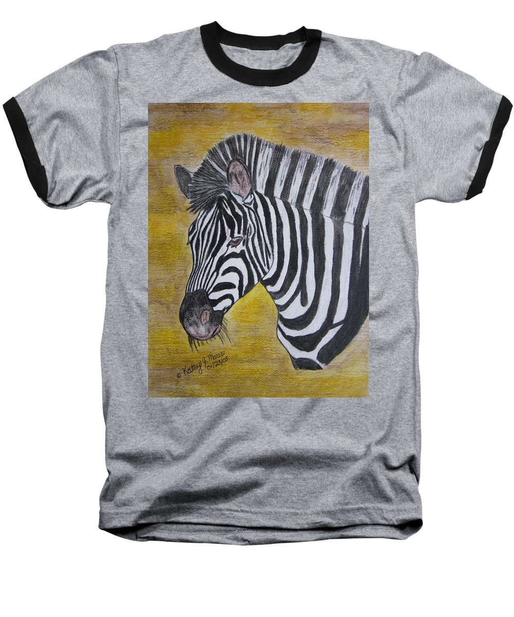 Zebra Baseball T-Shirt featuring the painting Zebra Portrait by Kathy Marrs Chandler