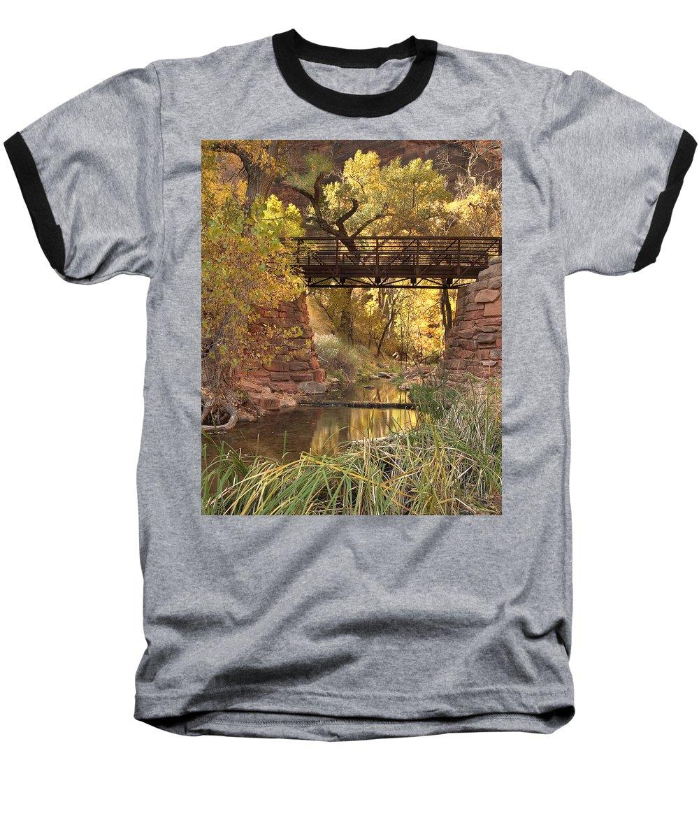3scape Baseball T-Shirt featuring the photograph Zion Bridge by Adam Romanowicz