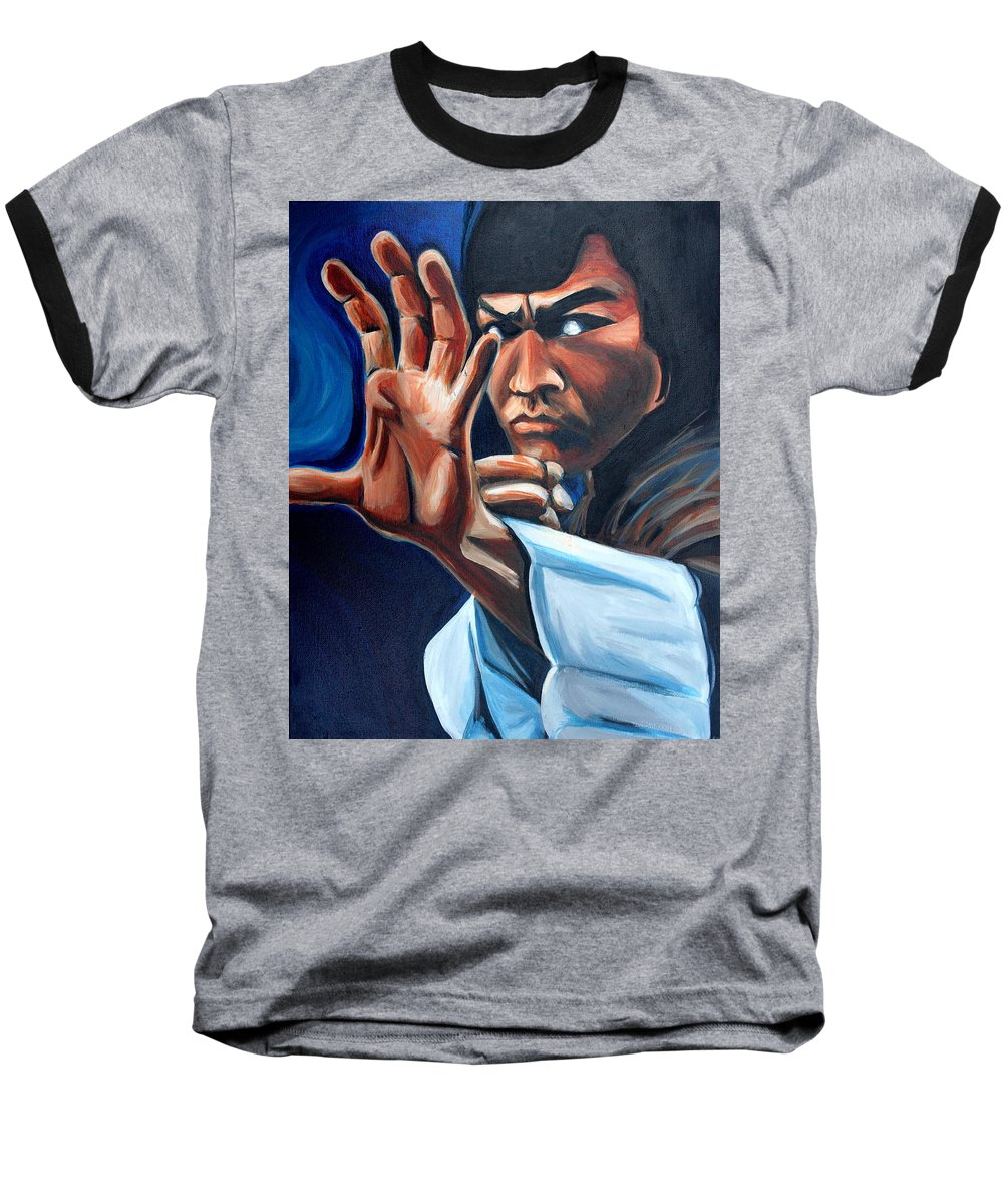 Baseball T-Shirt featuring the painting Bruce Lee by Kate Fortin