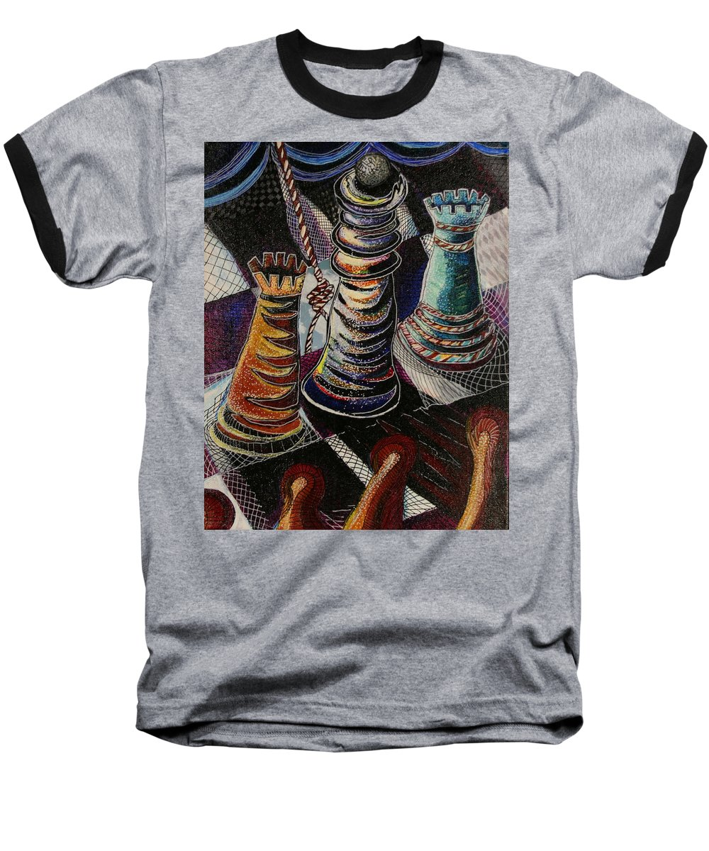 Chess Baseball T-Shirt featuring the painting 2 Rooks And A Queen by Kate Fortin