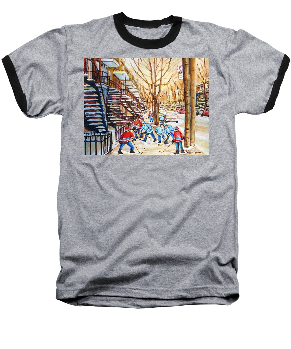 Montreal Baseball T-Shirt featuring the painting Hockey Game Near Winding Staircases by Carole Spandau