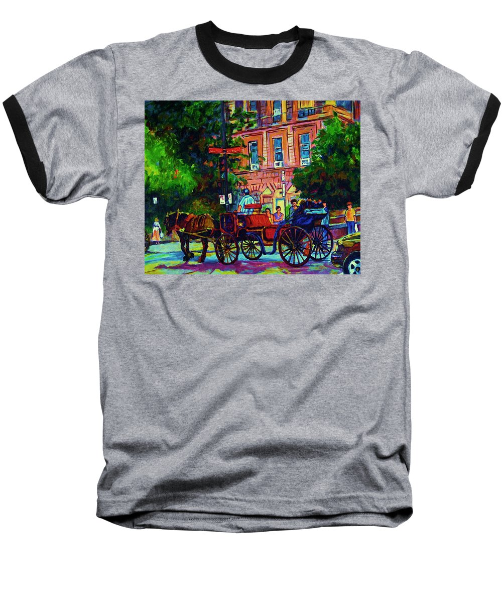 Rue Notre Dame Baseball T-Shirt featuring the painting Horsedrawn Carriage by Carole Spandau
