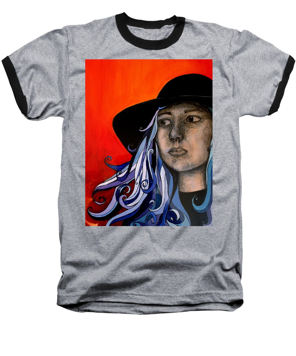 Portrait Baseball T-Shirt featuring the painting Self Portrait by Kate Fortin