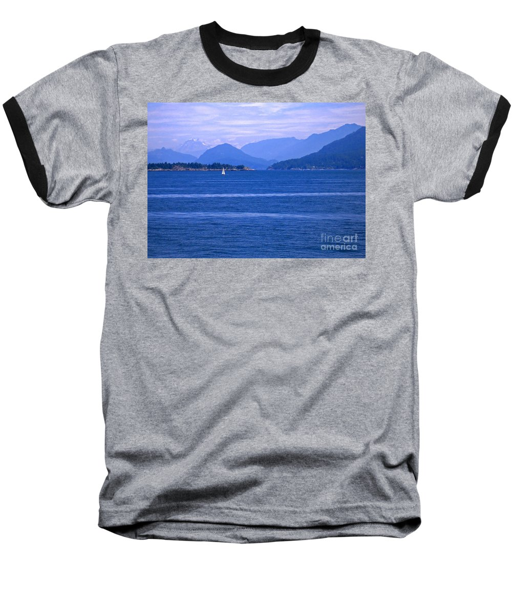 Sailboat Baseball T-Shirt featuring the photograph Solitary Sailing by Ann Horn