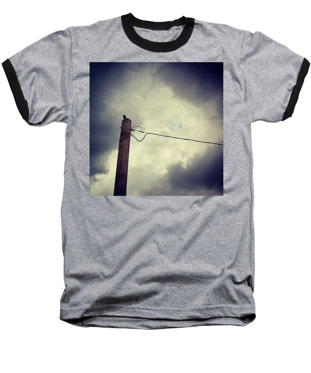 Storm Baseball T-Shirt featuring the photograph #storm Watcher by Katie Cupcakes