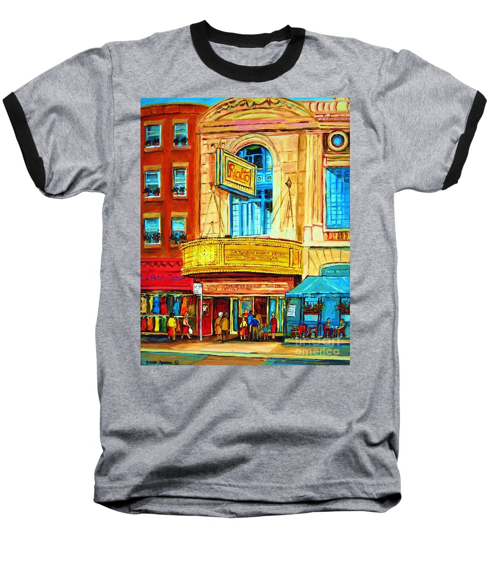 Street Scene Baseball T-Shirt featuring the painting The Rialto Theatre by Carole Spandau