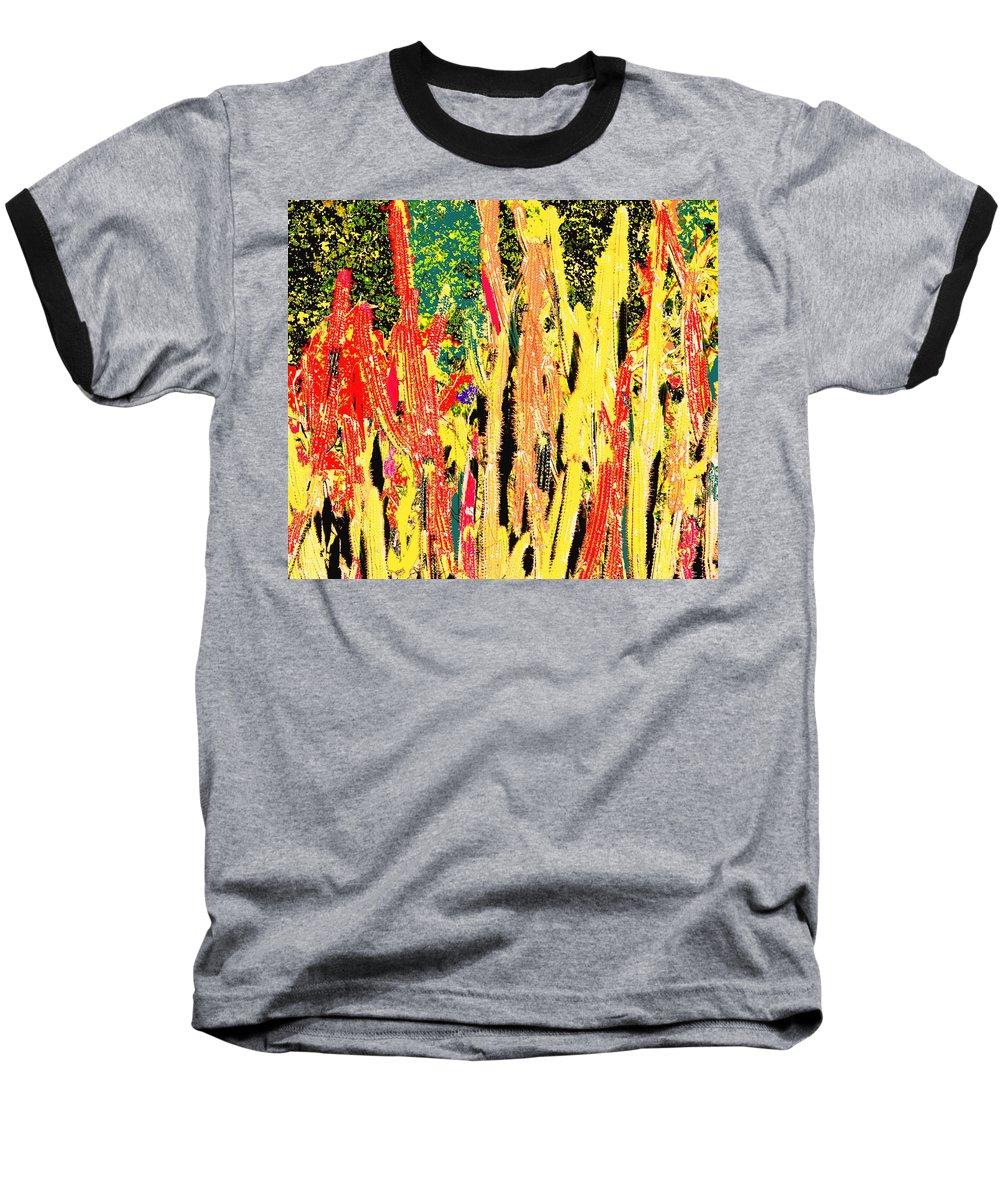 Cactus Baseball T-Shirt featuring the digital art Bridgestone Cacti by Ian MacDonald