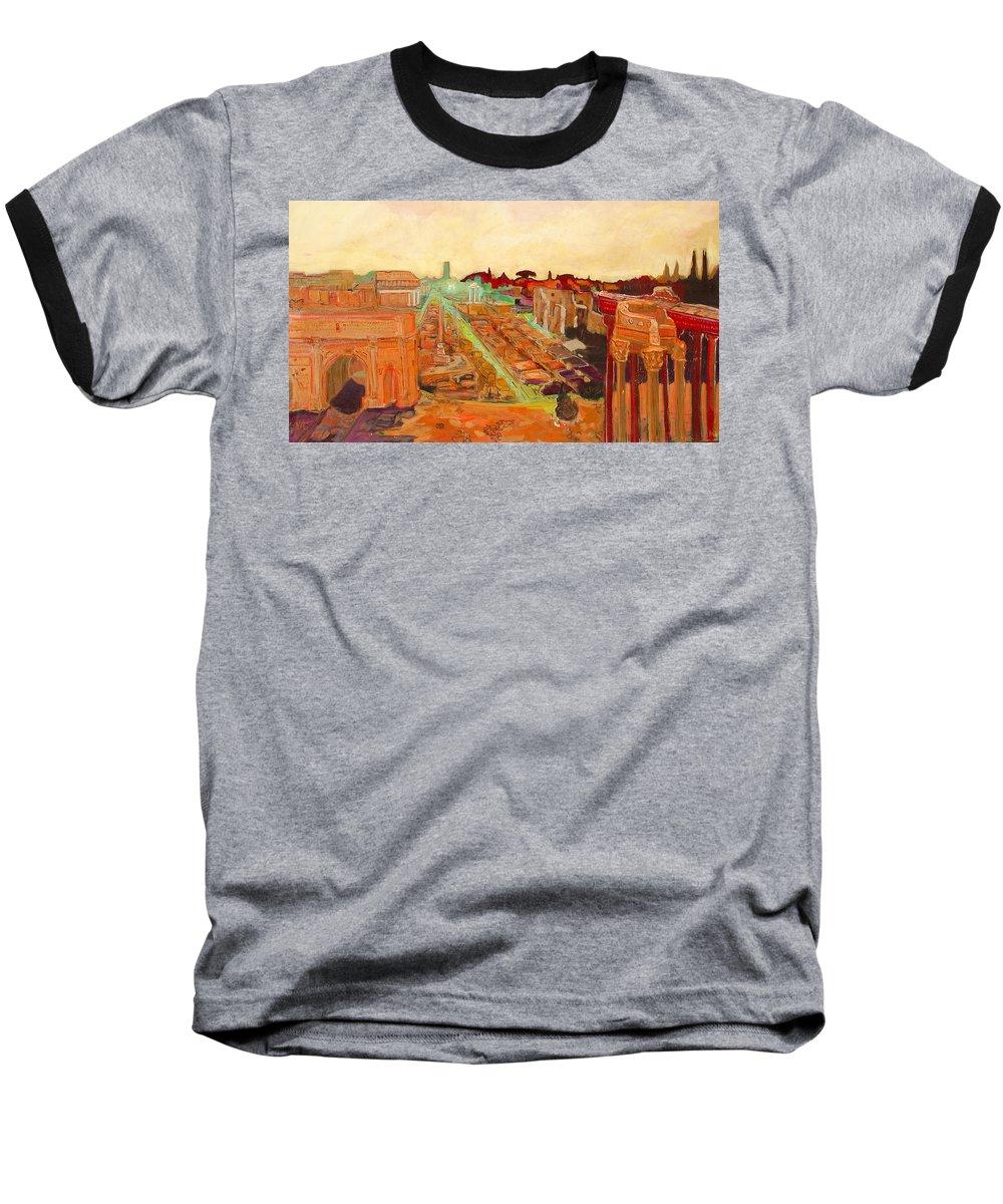 Rome Baseball T-Shirt featuring the painting Foro Romano by Kurt Hausmann