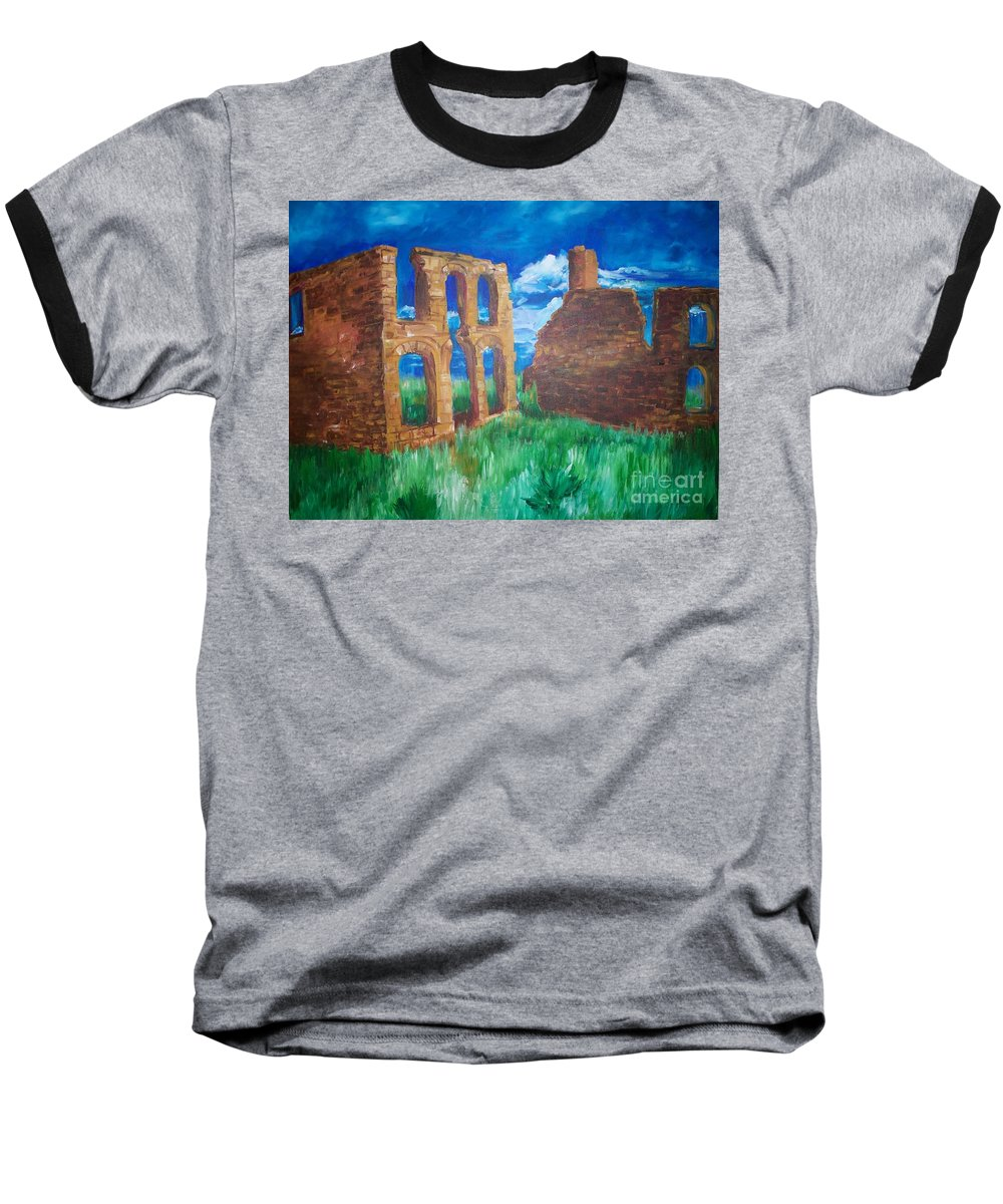 Western_landscapes Baseball T-Shirt featuring the painting Ghost Town by Eric Schiabor