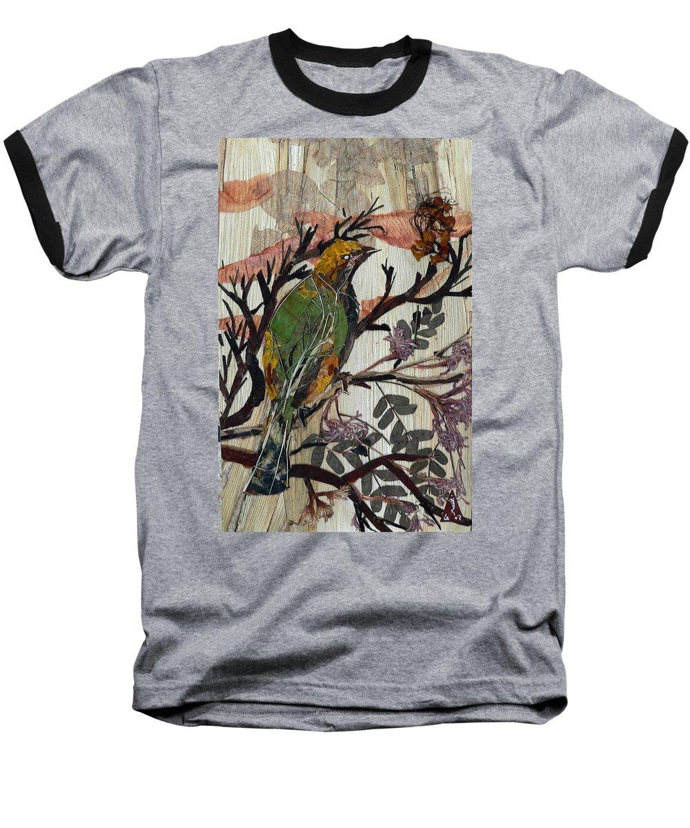 Green Bird Baseball T-Shirt featuring the mixed media Green-yellow Bird by Basant Soni