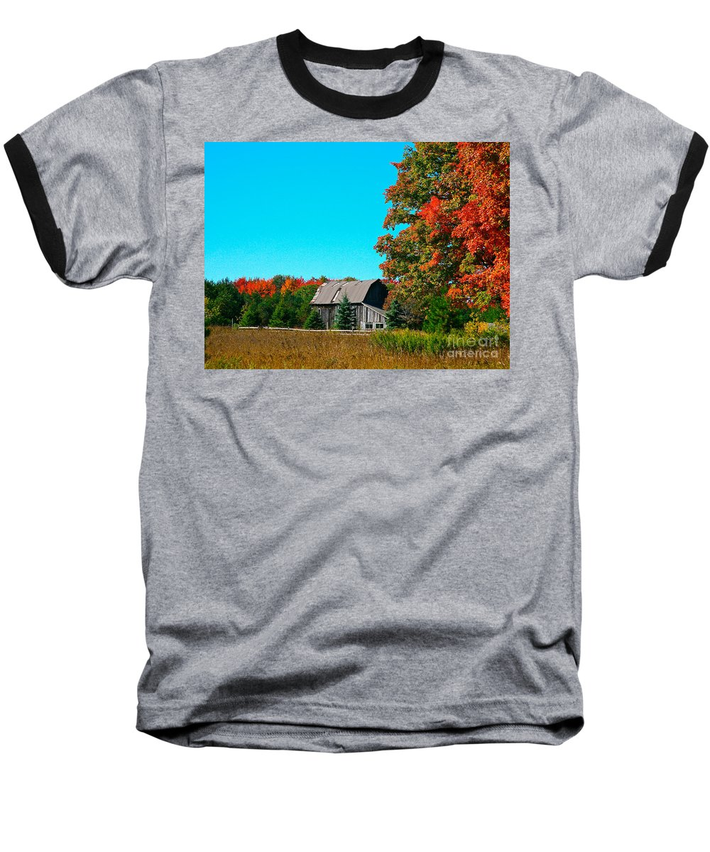 Old Barn Baseball T-Shirt featuring the photograph Old Barn In Fall Color by Robert Pearson
