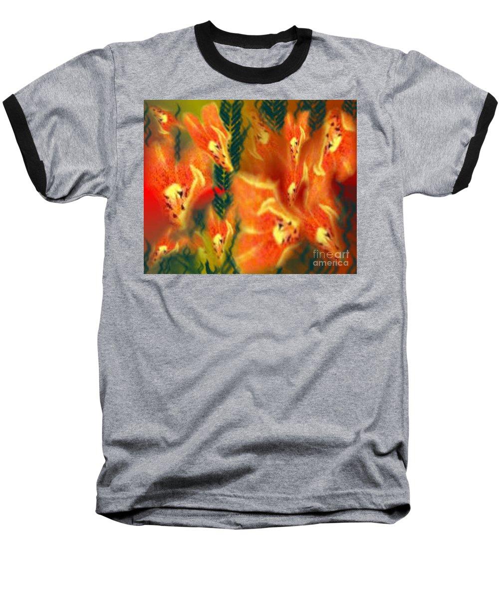 Florals Baseball T-Shirt featuring the digital art Symphonic Dance by Brenda L Spencer