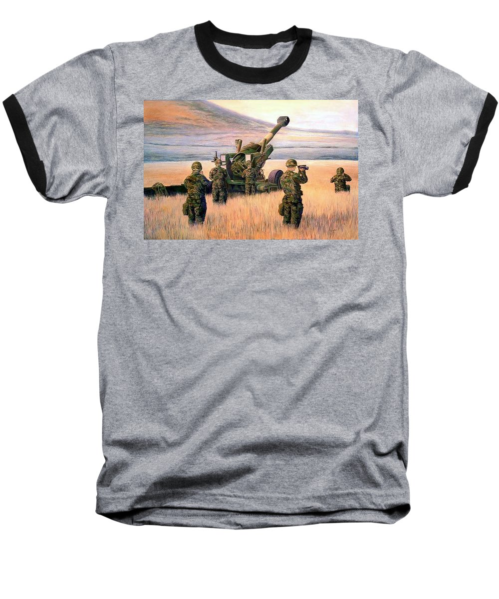 Signed And Numbered Prints Of The Montana National Guard Baseball T-Shirt featuring the print 1-190th Artillery by Scott Robertson